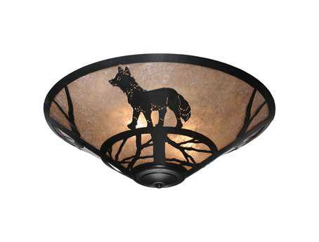 Meyda Tiffany Fox On The Loose Three-Light Flush Mount Light