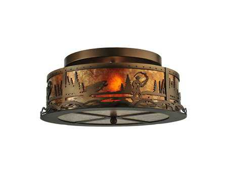 Meyda Tiffany Fly Fishing Creek Two-Light Flush Mount Light