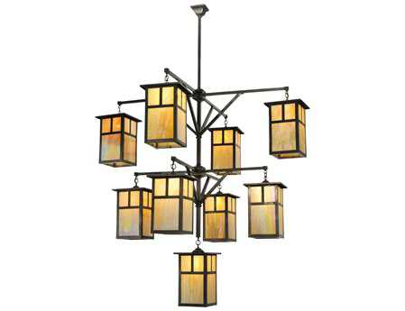 Meyda Tiffany Hyde Park T Mission 3 Tier Nine-Light 64 Wide Hanging Lantern Grand Chandelier