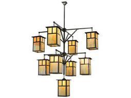 Meyda Tiffany Hyde Park T Mission 3 Tier Nine-Light 64 Wide Hanging Lantern Grand Chandelier