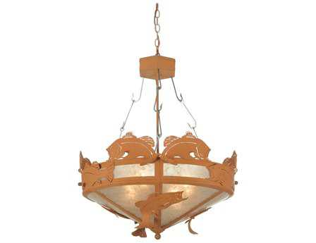 Meyda Tiffany Catch of The Day Bass Four-Light Inverted Pendant Light