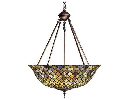 Meyda Tiffany Fishscale Three-Light Inverted Pendant Light