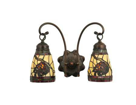 Meyda Tiffany Burgundy Pinecone Two-Light Wall Sconce