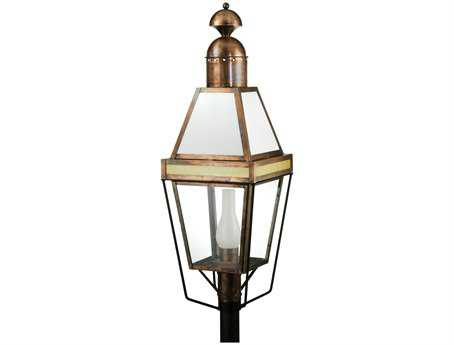 Meyda Tiffany Hancock Lantern Lexan Lenses Antique Copper Outdoor Post Mount Light