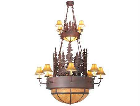 Meyda Tiffany Walden Pine 2 Tier 15-Light 54 Wide Grand Chandelier