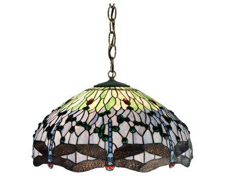 Meyda Tiffany Hanginghead Dragonfly Three-Light Pendant Light