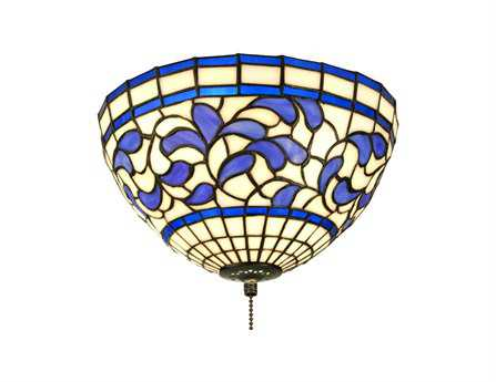 Meyda Tiffany Turning Leaf Three-Light Flush Mount Light
