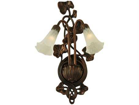 Meyda Tiffany White Pond Lily Two-Light Wall Sconce