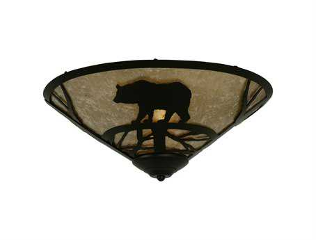 Meyda Tiffany Bear On The Loose Two-Light Flush Mount Light