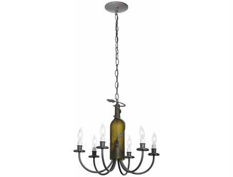 Meyda Tiffany Tuscan Vineyard Six-Light 18 Wide Wine Bottle Mini-Chandelier