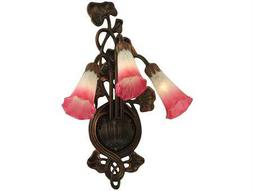 Meyda Tiffany Pink & White Pond Lily Three-Light Wall Sconce