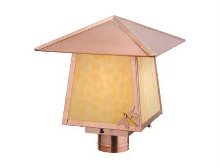 Meyda Tiffany Stillwater Natural Copper Dragonfly Outdoor Post Mount Light