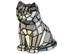Meyda Tiffany Cat Tiffany Glass Gray Accent Table Lamp