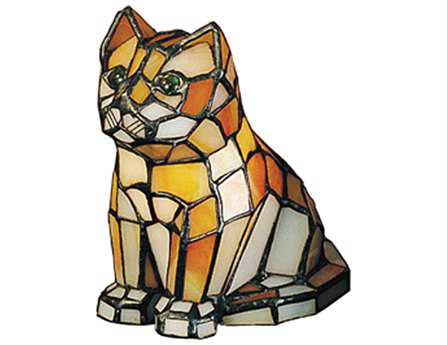 Meyda Tiffany Cat Tiffany Glass Multi-Color Accent Table Lamp
