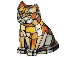 Meyda Tiffany Cat Tiffany Glass Multi-Color Accent Table Lamp
