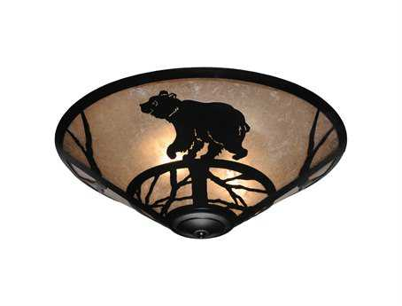 Meyda Tiffany Happy Bear On The Loose Three-Light Flush Mount Light