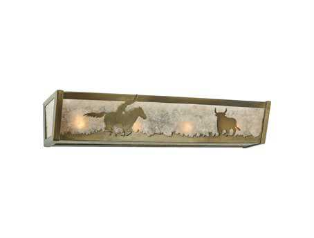 Meyda Tiffany Cowboy & Steer Four-Light Vanity Light
