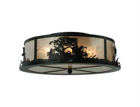 Meyda Tiffany Leaping Trout Four-Light Flush Mount Light