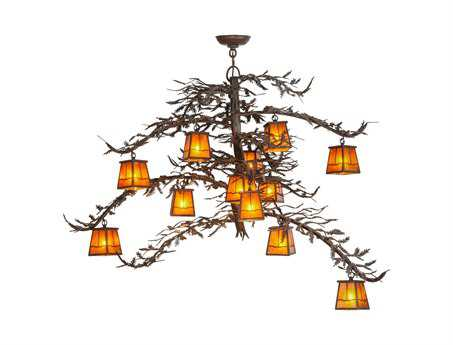 Meyda Tiffany Pine Branch Valley View 12-Light 48 Wide Grand Chandelier