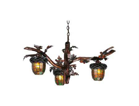 Meyda Tiffany Acorn Branch Three-Light 40 Wide Grand Chandelier