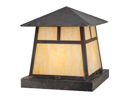 Meyda Tiffany Stillwater T Mission Vintage Iron Four-Light Outdoor Pier Mount Light