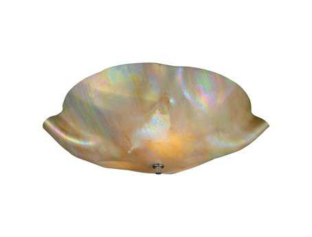 Meyda Tiffany Metro Beige Iridescent Organic Art Glass Three-Light Flush Mount Light