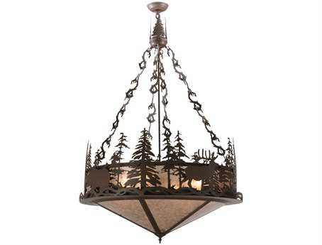 Meyda Tiffany Wildlife At Dusk Four-Light Inverted Pendant Light