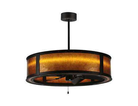 Meyda Tiffany Smythe Craftsman Amber Mica LED 586-Light Chandel-Air