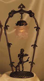 Meyda Tiffany Cherub with Violin Pink Accent Table Lamp