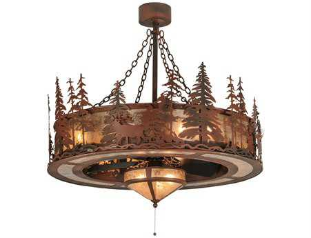 Meyda Tiffany Elk At Dusk with Fan Light 11-Light Chandel-Air