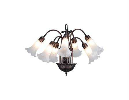 Meyda Tiffany White Pond Lily Seven-Light 20 Wide Mini-Chandelier