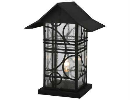 Meyda Tiffany Deco Black  Seedy Outdoor Post Mount Light