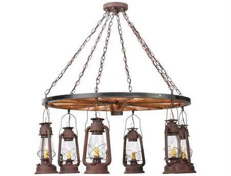 Meyda Tiffany Miners Lantern Wagon Wheel Six-Light 40 Wide Chandelier