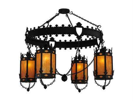 Meyda Tiffany Valhalla Four-Light 73 Wide 4 Lantern Grand Chandelier