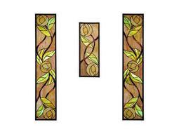 Meyda Tiffany Mackintosh Rose Stained Glass Window (3 Pieces)