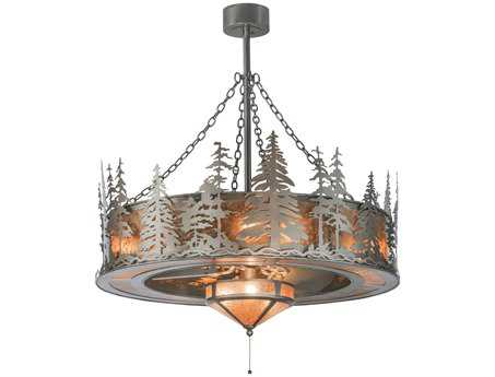 Meyda Tiffany Tall Pines with Fan Light 11-Light Chandel-Air