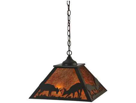 Meyda Tiffany Battling Bucks Two-Light Pendant Light