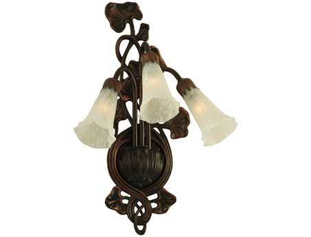 Meyda Tiffany White Pond Lily Three-Light Wall Sconce