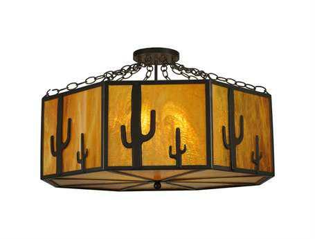 Meyda Tiffany Southwest Cactus Eight-Light Semi-Flush Mount Light