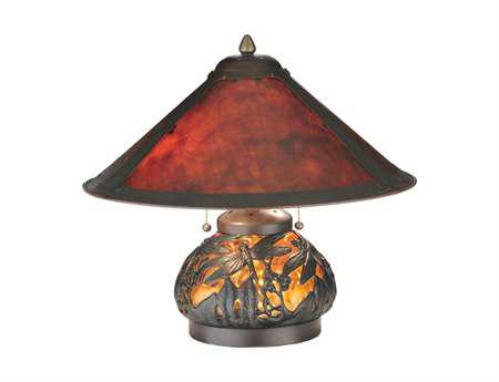 Meyda Tiffany Van Erp Amber Mica Lighted Base Red Table Lamp