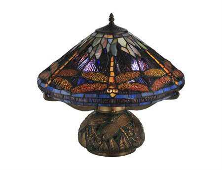 Meyda Tiffany Dragonfly Cone Black Table Lamp