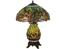 Meyda Tiffany Hanginghead Dragonfly Lighted Base Multi-Color Table Lamp