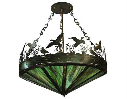 Meyda Tiffany Ducks In Flight Inverted Nine-Light Pendant Light