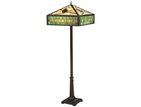 Meyda Tiffany Green Pine Branch Mission Multi-Color Floor Lamp