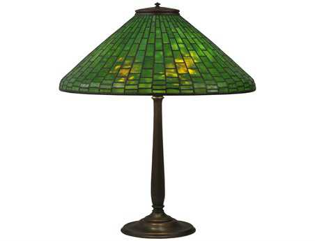 Meyda Tiffany Geometric Makers Mark Green Table Lamp