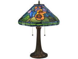 Meyda Tiffany Poppy Cone Multi-Color Table Lamp