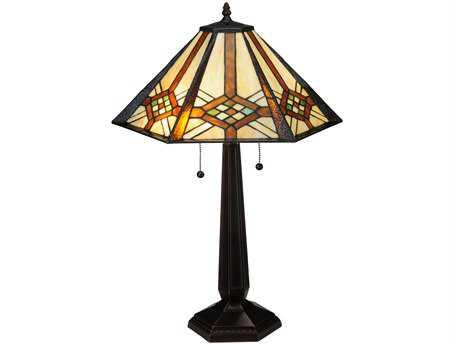 Meyda Tiffany Crosshairs Mission Multi-Color Buffet Lamp
