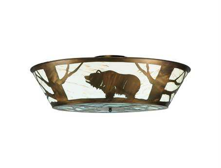 Meyda Tiffany Grizzly Bear On The Loose LED 432-Light Flush Mount Light