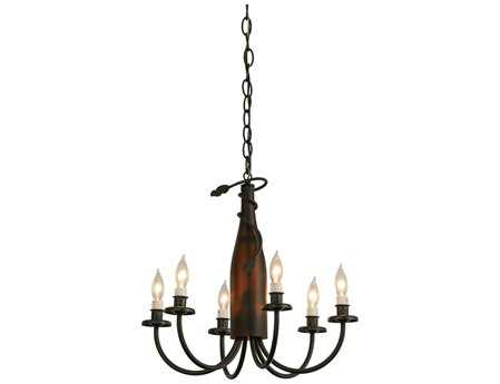 Meyda Tiffany Tuscan Vineyard Frosted Amber Wine Bottle Six-Light 18 Wide Mini-Chandelier