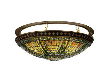 Meyda Tiffany Fleur-De-Lis Eight-Light Flush Mount Light